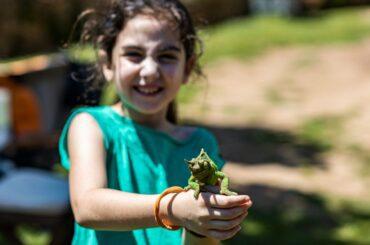 Little Girl Holding a Chameleon
